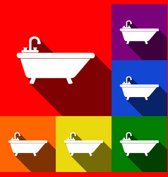 Bathtub sign set of icons vector