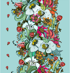 Bright floral ornamental in frieze of garden vector