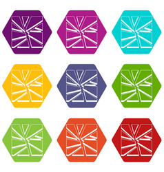 broken glass icon set color hexahedron vector image