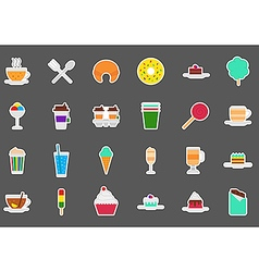Cafeteria food stickers set vector image