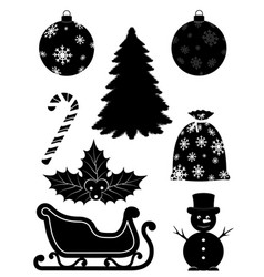 christmas objects set icons black outline vector image vector image