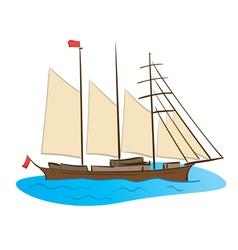 Color sailing ship vector