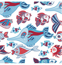 Doodle kids sea animals seamless pattern vector
