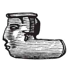 earthen pipe depicting a face made by native vector image vector image