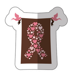 Emblem breast cancer hearts and butterfly icon vector