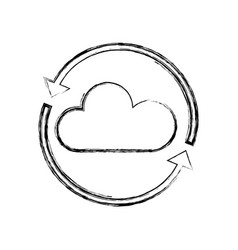 figure nice cloud weather with arrows around vector image