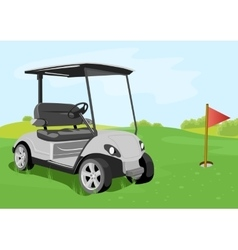 golf cart and flag on a golf course vector image vector image