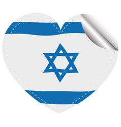 Israel flag design on round sticker vector