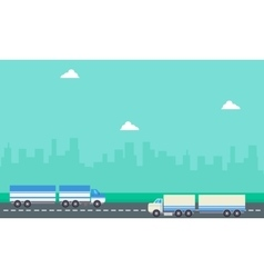 Landscape of two container truck vector image