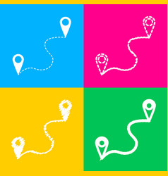 Location pin navigation map gps sign four styles vector