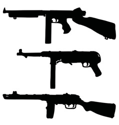 Old automatic guns vector