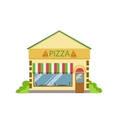 Pizza cafe commercial building facade design vector