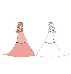 Princess with a crown Contour and color vector image
