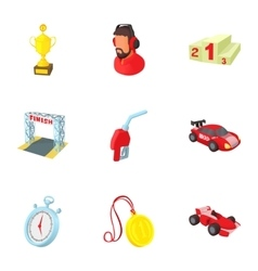 Race cars icons set cartoon style vector