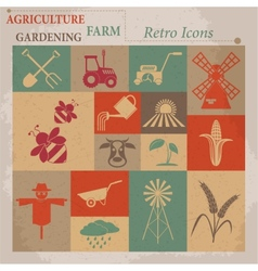 Retro agriculture and farming icons vector