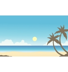 Silhouette of palm on the beach scenery vector