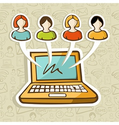 Social media people online interaction vector image vector image
