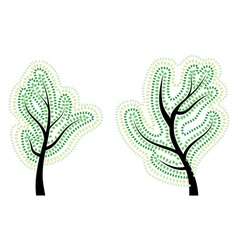 Tree with Abstract Green Leaves vector image