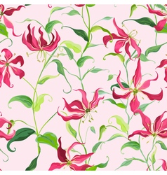 Tropical leaves and floral background - fire lily vector
