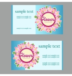 Two business cards with floral disign vector
