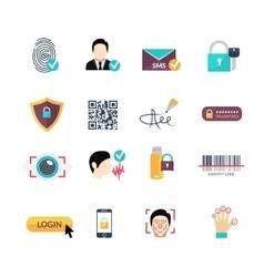Verification secure methods flat icons set vector