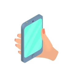 Female hand holding cellular phone icon vector
