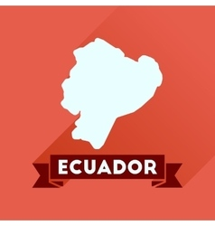 Flat icon with long shadow ecuador map vector