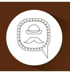 Symbol hipster hat and retro mustache icon vector