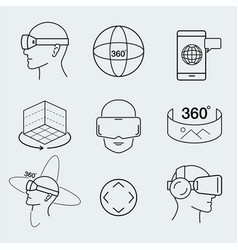 Virtual reality design set vr thin line icon vector