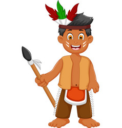 Funny man indian tribal cartoon posing vector