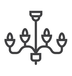 chandelier line icon furniture and interior vector image