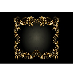Luxury gold square frame with decor of spirals vector