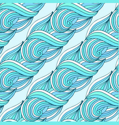 Doodle wavy repeating pattern blue waves tropical vector