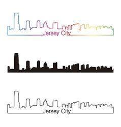 Jersey city skyline linear style with rainbow vector