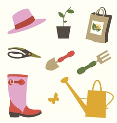 Gardening objects set vector