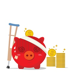 Piggy bank design of accident concepts vector