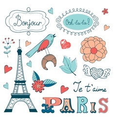 Beautiful collection of paris related graphic vector image