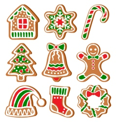 Set of gingerbread christmas cookies isolated on vector