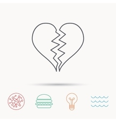 Broken heart icon divorce sign vector