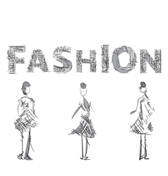 Fashion models sketch drawn letters vector