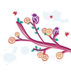 Summer floral branch vector