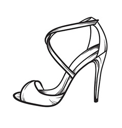 Woman shoes summer heels elegant hand drawn vector