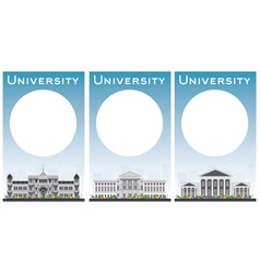 Set of university study banners with copy space vector