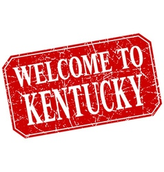 Welcome to kentucky red square grunge stamp vector