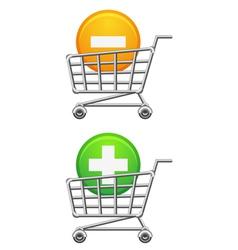 Shoppingcart and button vector