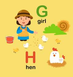 Alphabet letter g-girl h-hen vector