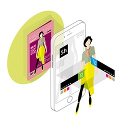 Augmented reality in e-commerce vector image vector image