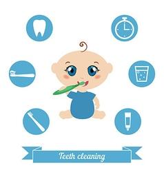 Baby brushing his teeth vector