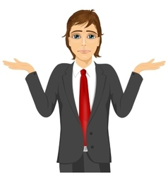 Business man in doubt making shrug expression vector