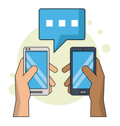 Color background with smartphones in text chat vector